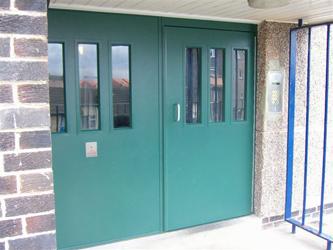 Double Communal Entrance Door Green